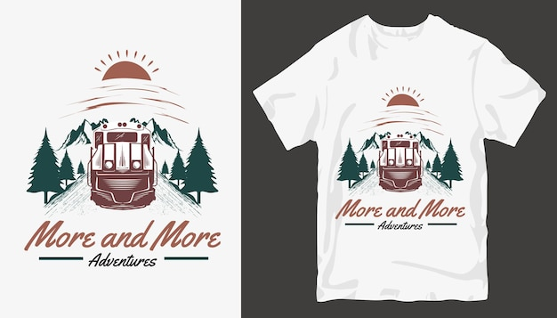 Все больше и больше, дизайн футболки adventure. открытый дизайн футболки.