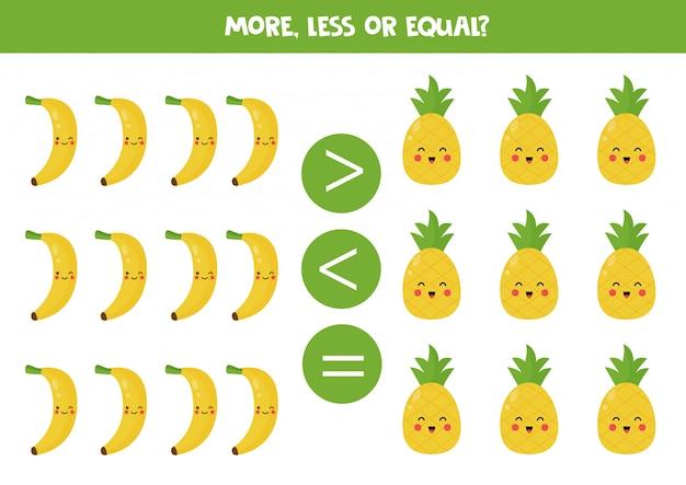 More, less, equal. comparison of cute kawaii fruits