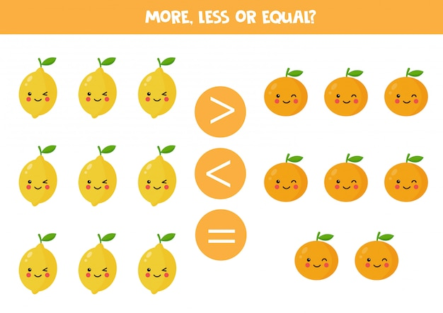 More, less, equal. comparison of cute kawaii lemons and oranges
