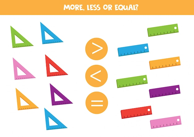 More, less or equal. count how many rulers