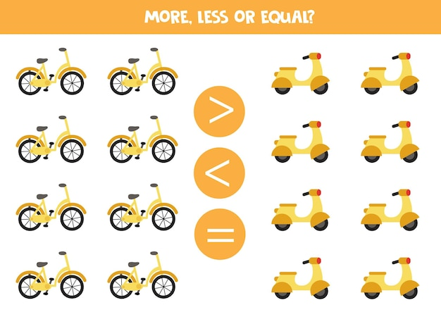 More, less, equal with cartoon bicycle and moped. math game.