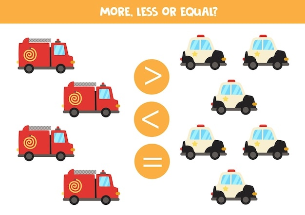 More, less, equal with cartoon fire truck and police car. math game.