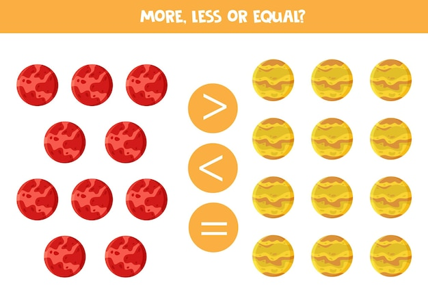 More, less, equal with cartoon mars and venus planets. math game.