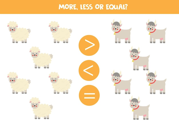 More, less, equal with cartoon sheep and goat. math game.