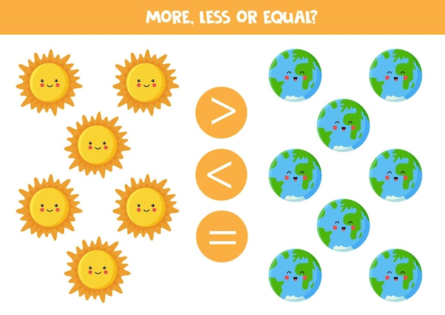 More, less, equal with cartoon sun and earth. math game.