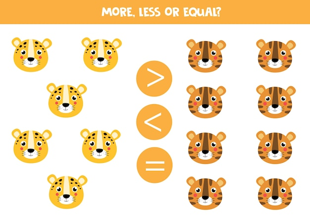 More less equal with cute animal faces of leopard and tiger math game