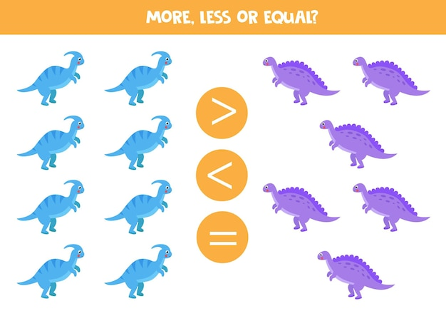 More, less, equal with cute cartoon dinosaurs. parasaurolophus and spinosaurus.