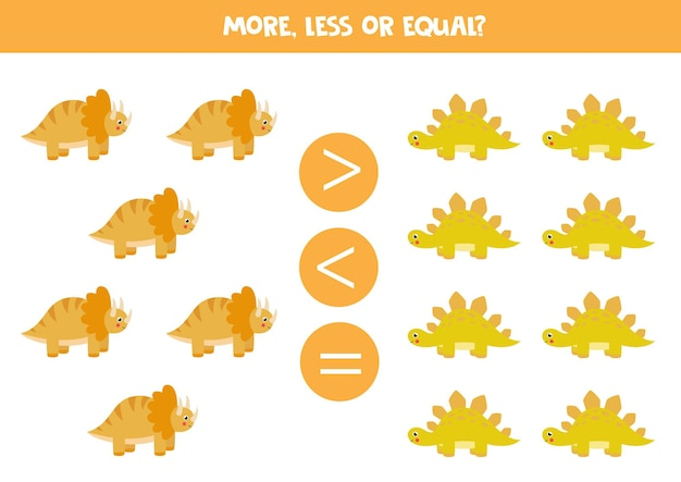 More, less, equal with cute cartoon dinosaurs. trice raptor and stegosaurus.