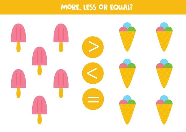 より多く、より少なく、アイスクリームと同等です。数学の比較。