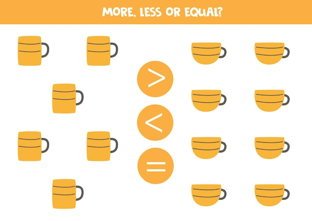 더 많고 적으며 주방 머그와 컵과 동일합니다. 수학 비교.