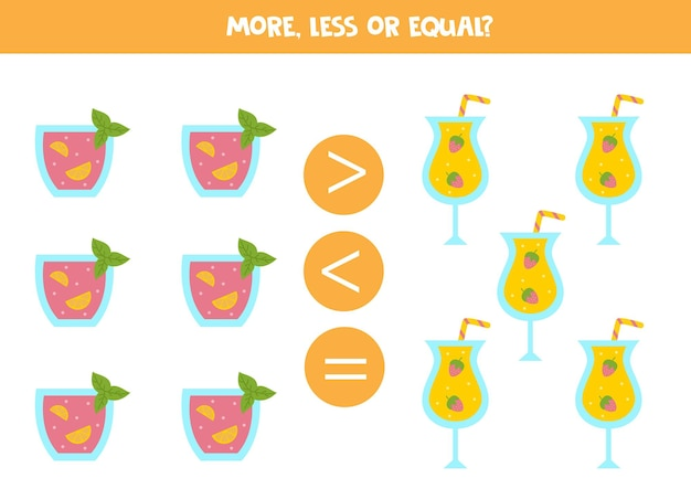 More, less, equal with summer cocktails. math comparison.