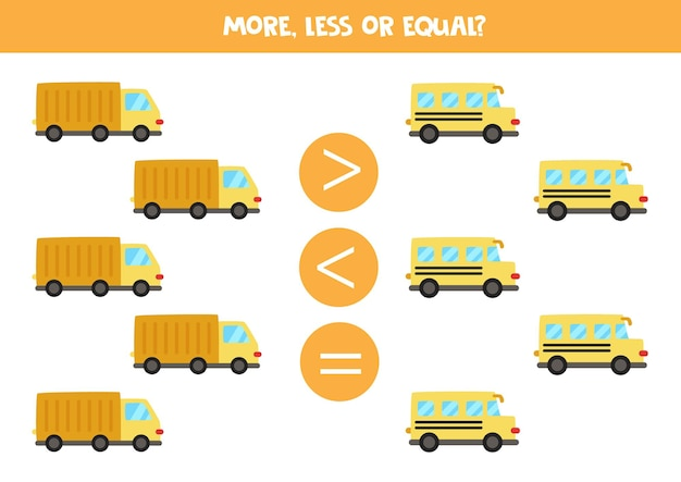More, less, equal with truck and school bus. math game.
