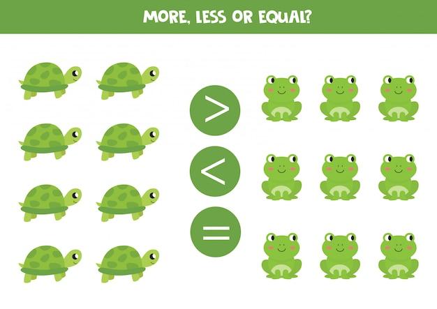 多い、少ない、または等しい。子供向けの比較。カメとカエル。