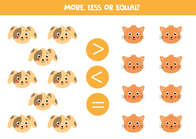 Более или менее равная игра с милыми кошками и собаками математическая игра для детей