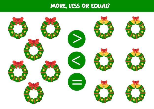 Больше, меньше или равно с мультяшными рождественскими венками. игра-сравнение для детей.