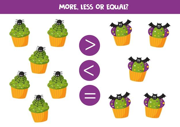 귀여운 만화 할로윈 컵 케이크와 더 많거나 적거나 같습니다. 아이들을위한 교육 수학 게임.