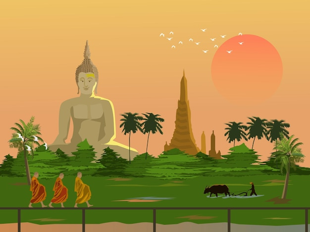 タイの田舎の朝の雰囲気。施しをする3人の僧侶。水牛で耕す農民。背景に大きな仏塔と塔