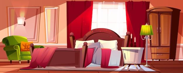 Утренняя спальня в беспорядке иллюстрация интерьера комнаты мультфильм фон