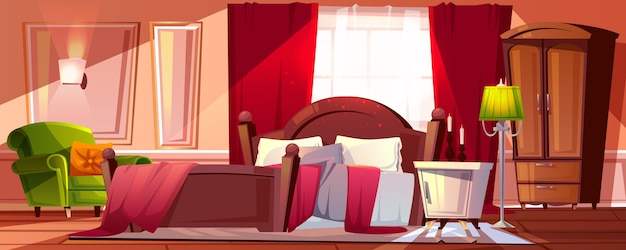 Morning bedroom in mess illustration of room interior cartoon background