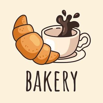 Утренний завтрак, десерт, чашка кофе и круассан, изолированный элемент дизайна наклейки с логотипом