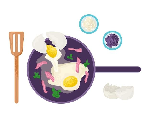 Утренний завтрак яичница со свининой беконом