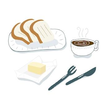 朝の朝食、パン、バター、コーヒー
