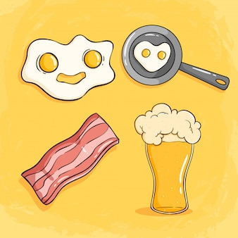 Morning breakfast with fried egg, bacon and a glass of beer