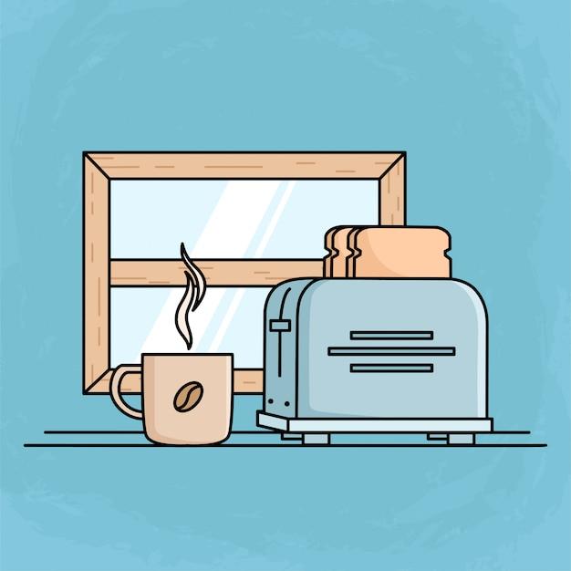 Утренний завтрак с тостовым хлебом и кофейной чашкой. плоский дизайн завтрак иллюстрация