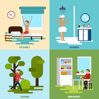 Morning character icon set