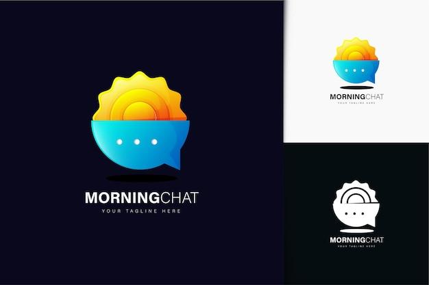 グラデーションと朝のチャットのロゴデザイン