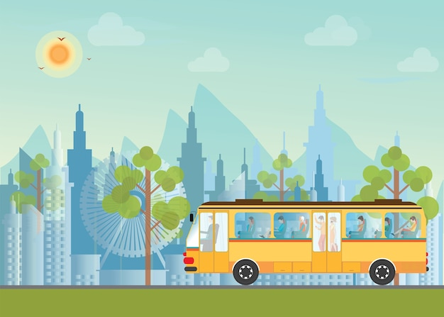 Morning city skyline with bus.