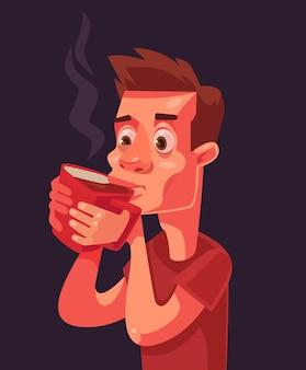 모닝 커피 졸린 남자 캐릭터, 평면 만화 일러스트 레이션