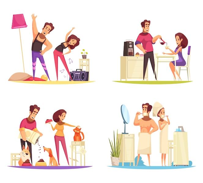 Morning concept illustration set