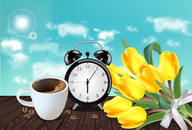 Morning cup of coffee and alarm