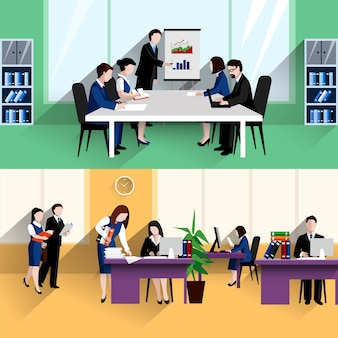 Morning daily briefing meeting and office work situation two flat banners composition poster
