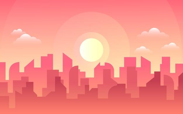 아침, 낮 도시의 스카이 라인 풍경, 다른 시간에 도시 건물과 도시 풍경 마을 하늘. 낮 풍경. 건축 실루엣 시내 배경입니다.