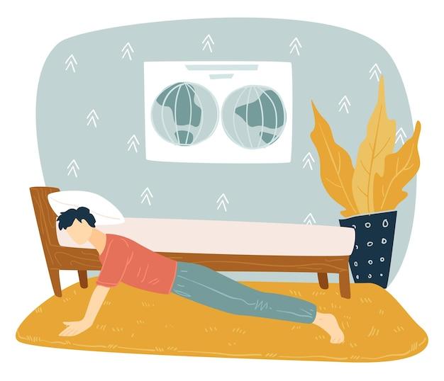 십대의 아침 운동, 방에서 팔 굽혀 펴기를 하는 남성 캐릭터. 코로나바이러스 검역 기간 동안 활동적인 생활 방식을 선도합니다. 근육 성장, 남자의 취미. 스포츠 활동, 평면 스타일의 벡터
