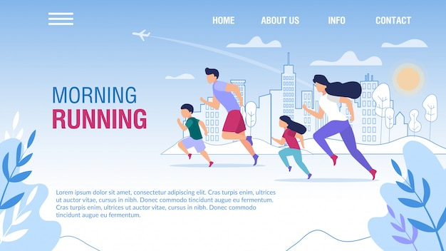 Morning family running motivating landing page