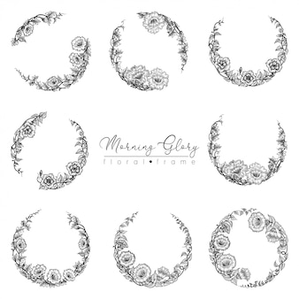 Morning glory flower round floral frame set