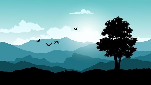 Утренний пейзаж с горой и деревом