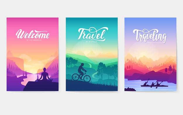 산 정상에서 아침 명상. 산악 자전거를 타고 정상에서 스포츠 하강.
