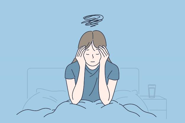 朝の片頭痛、慢性疲労、神経緊張、ストレスまたはインフルエンザの症状、起きにくい概念