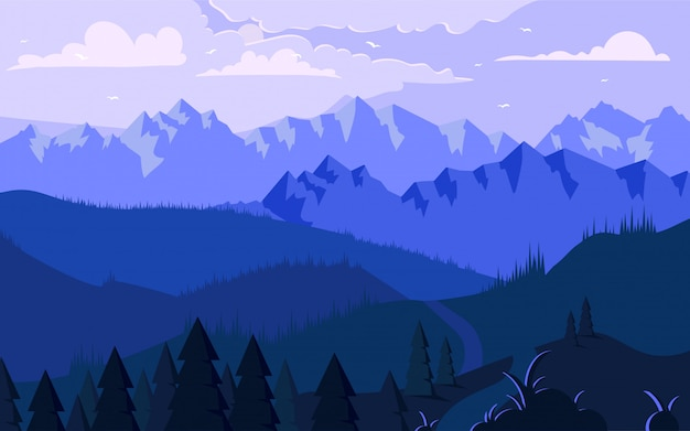 Morning in mountains minimalistic illustration