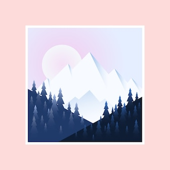 Morning in mountains. vector illustration.