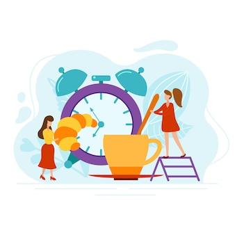 目覚まし時計とクロワッサンを持つ朝の人々。女性はフラットスタイルで淹れたてのコーヒーを作ります。白い背景で隔離のベクトルイラスト。