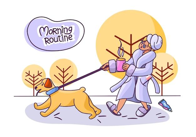 아침 일과 목욕 가운을 입은 소녀와 커피 한 잔과 함께 개와 산책