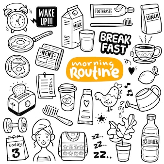 朝の日常の活動とオブジェクトの黒と白の落書きイラスト