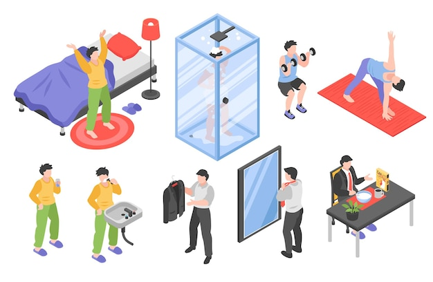 Morning routine men isometric set with hygiene and sports symbols isolated