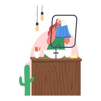 아침 루틴. 젊은 여성 캐릭터 씻는 얼굴은 욕실에 있는 거울과 세면대 앞에 서 있습니다. 수건과 가운을 입은 소녀