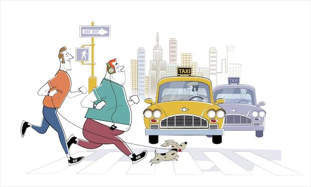 Утренняя пробежка по нью-йорку. два улыбающихся бегуна и маленькая собачка. здоровый образ жизни, активный образ жизни, спорт.